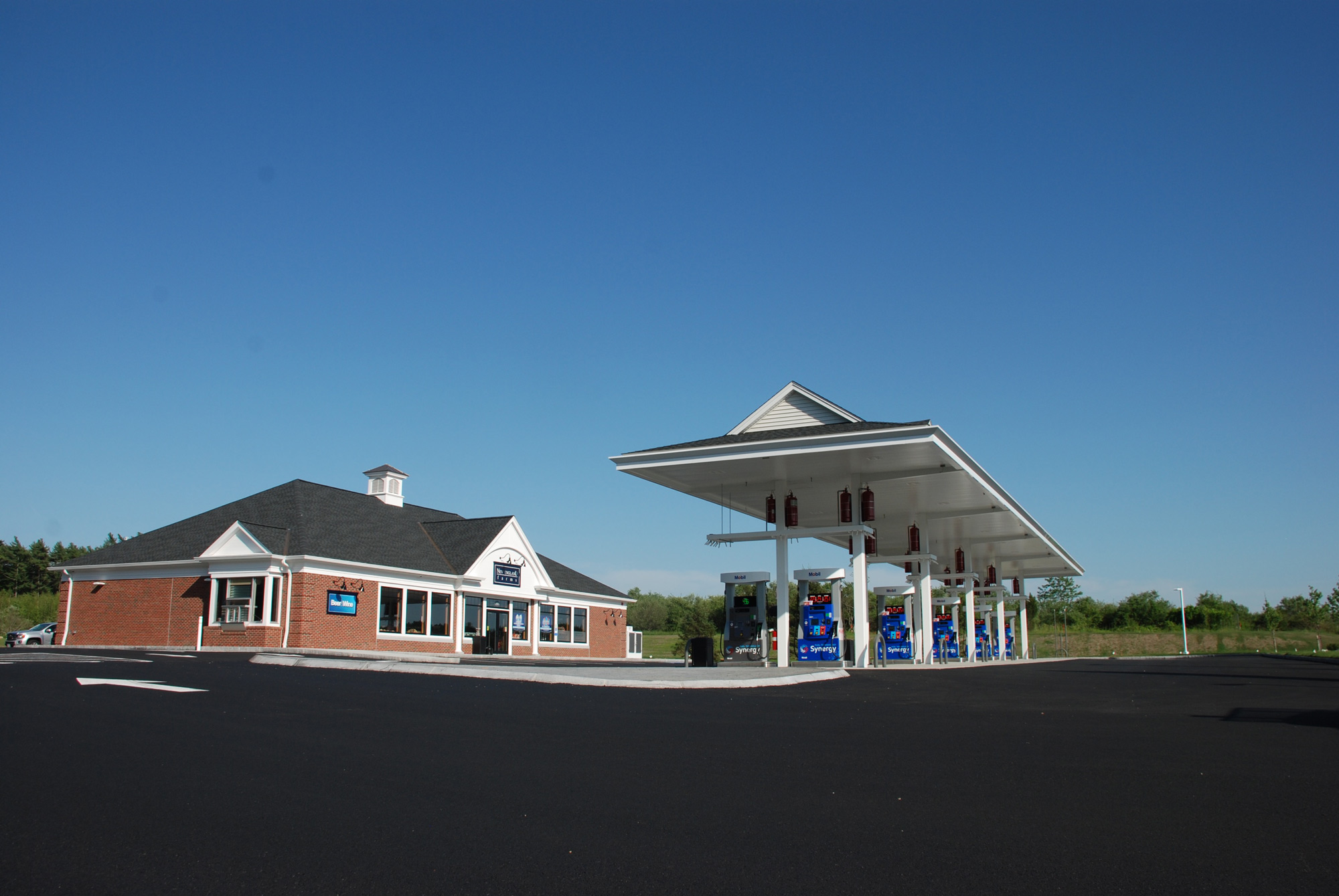 Outside New England Farms convenience store and gas station, New England Farms convenience store
