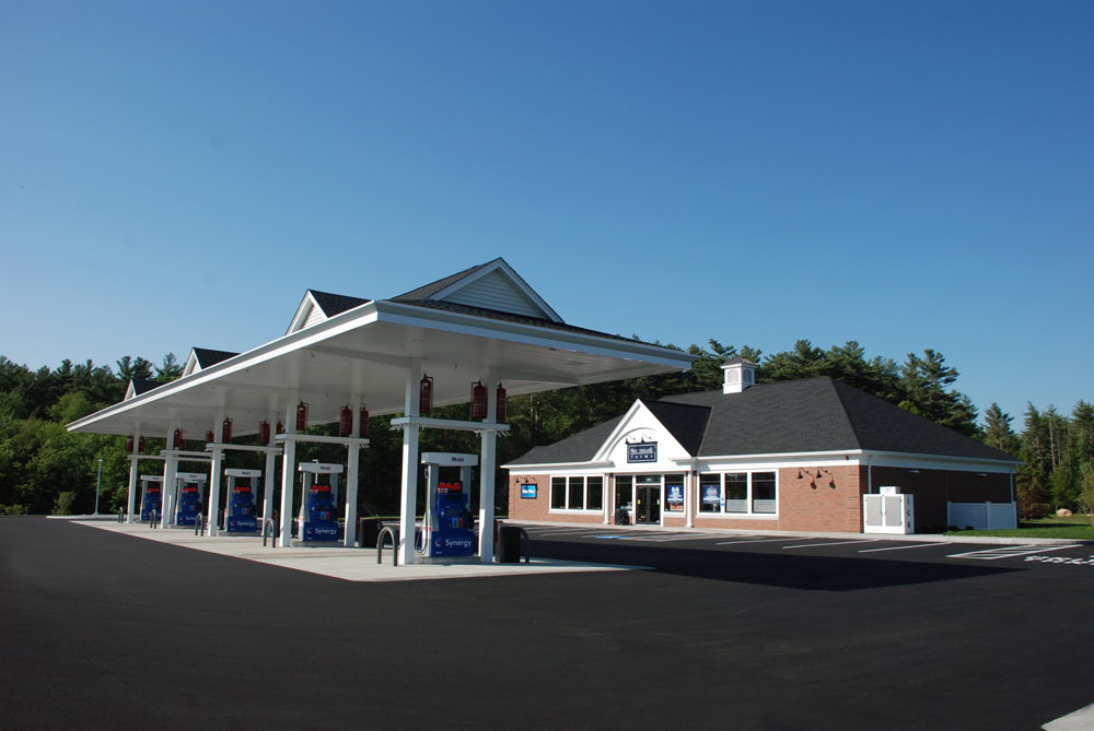 Outside gas station and New England Farms convenience store, gas station MA, gas station New England